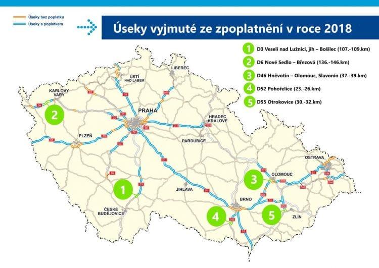 Mapa - dálnice - úseky vyjmuté ze zpoplatnění od 2018