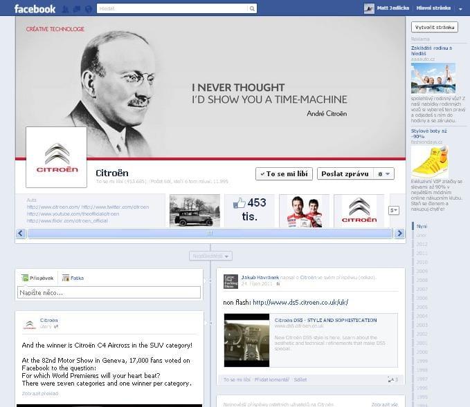 Citroën na Facebooku oživil svoji historii, zanesl ji na profil Timeline