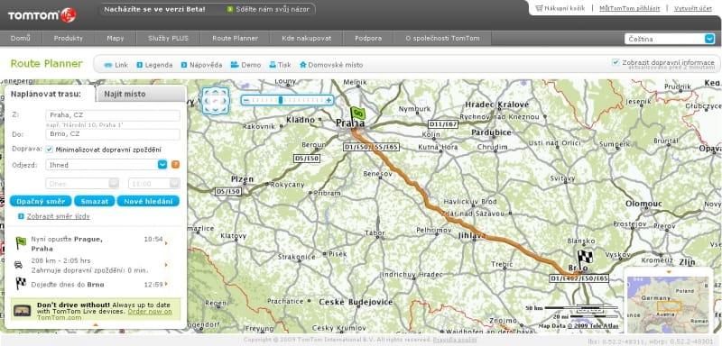 TomTom Route Planner: čeština pro plánovač tras