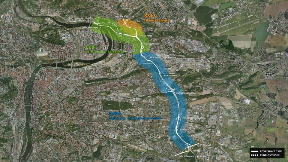 Plánovaná trasa Městského okruhu. Zbývá dostavět poslední třetinu, necelých 9 kilometrů. Foto: mestskyokruh.info
