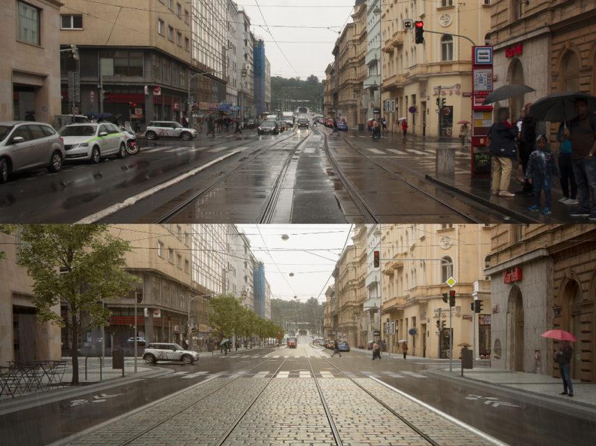 Revoluční ulice dnes a v budoucnu. Méně parkování, širší chodníky, více stromů. Tímto směrem se zřejmě budou měnit ulice Prahy. Foto: IPR