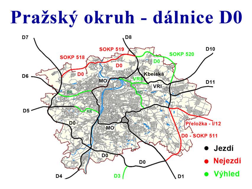 Pražský okruh neboli Silniční okruh kolem Prahy neboli dálnice D0. Červeně a zeleně vyznačené úseky dosud chybí.