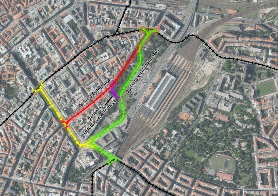 Tři varianty vedení tramvajové trati v okolí Václavského náměstí. Jedna z nich by měla být realizování do 5 let. Foto: IPR
